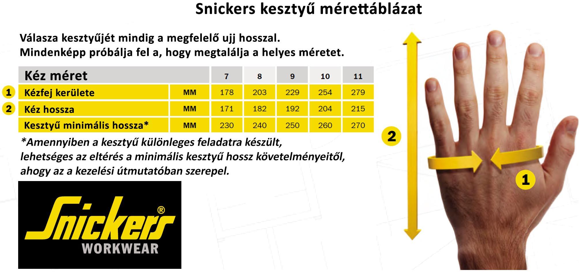 Snickers kesztűk mérettáblázat